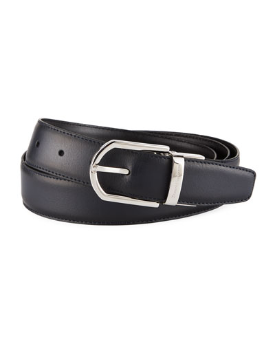 Men's Reversible Leather Belt, Black/Blue