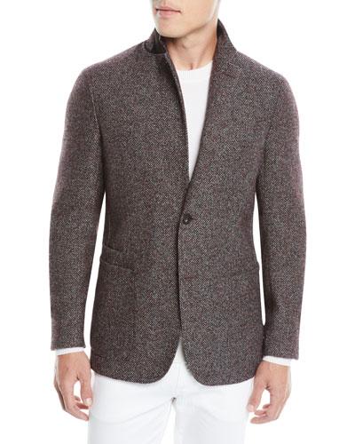 Men's Textured Camel/Alpaca Two-Button Blazer