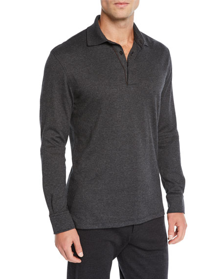 Image 1 of 1: Men's Leather-Trim Long-Sleeve Polo Shirt