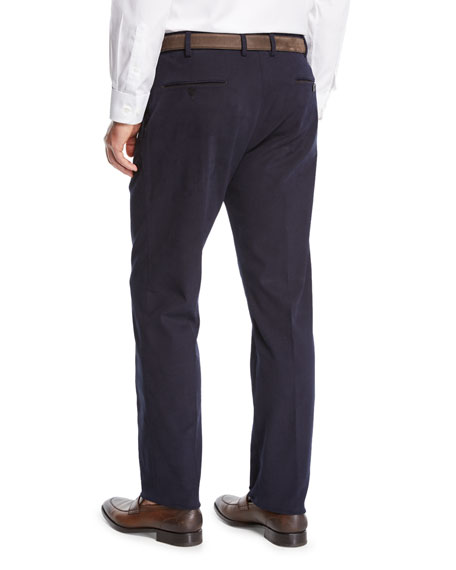Men's Suede-Trim Chino Pants