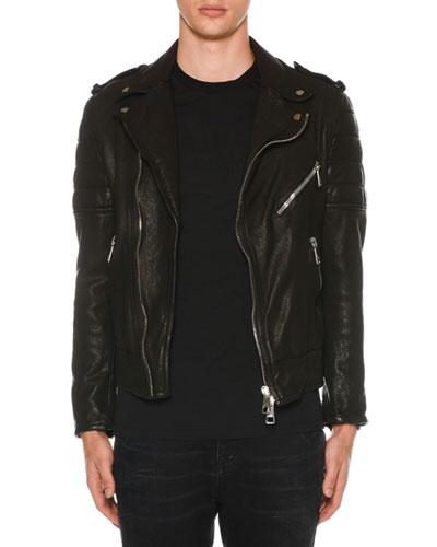 Men's Buffalo Leather Biker Jacket