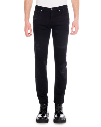Men's Destroyed Denim Skinny Jeans