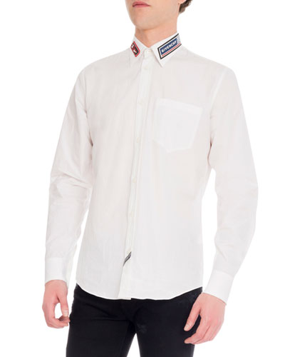 Men's Cotton Dress Shirt w/ Rubber Patches