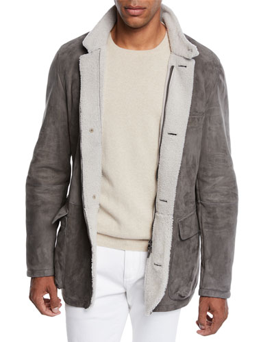 Men's Roadster Suede Shearling Coat