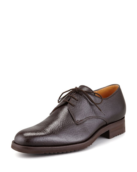 Peccary Leather Lace-Up Blucher, Brown