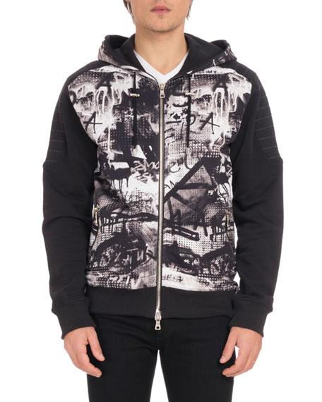 Balmain Men s Graffiti-Print Zip-Front Hoodie Sweatshirt 3b6eec1dd