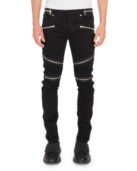 Balmain Men's Nervures Skinny Jeans with Zip Embellishments