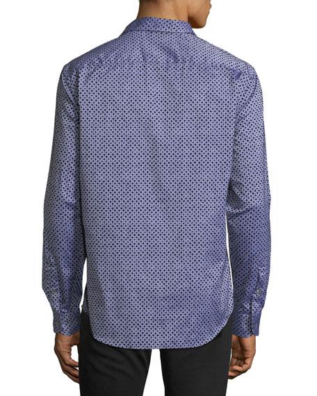 Men's Diamond-Pattern Flocked Long-Sleeve Woven Shirt