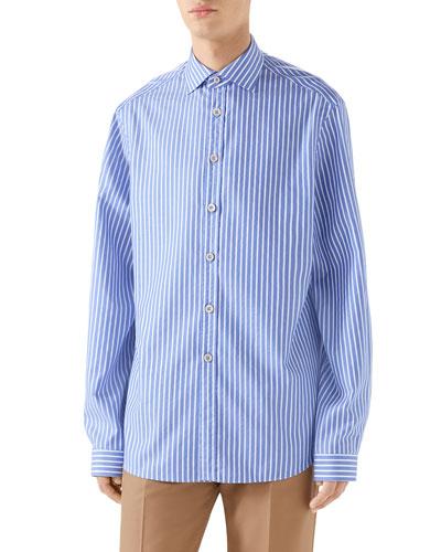 Men's Striped Poplin Shirt