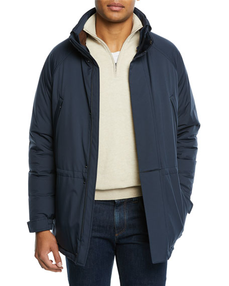 Loro Piana Men's Icer Wind Stretch Coat In Navy