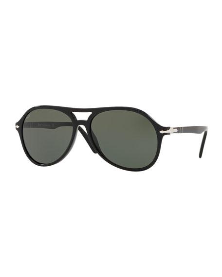 PERSOL Men'S Po3194S Propionate Aviator Sunglasses - Solid Lenses in Black