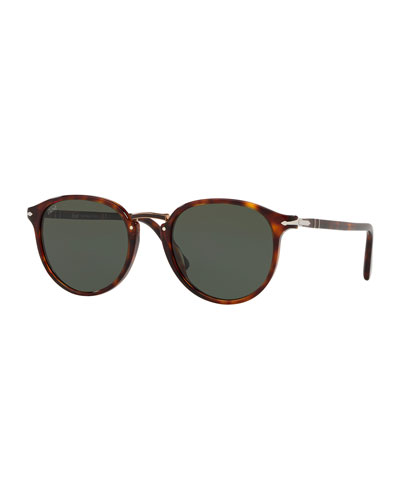 Men's PO3210S Oval Acetate Keyhole Sunglasses - Solid Lenses