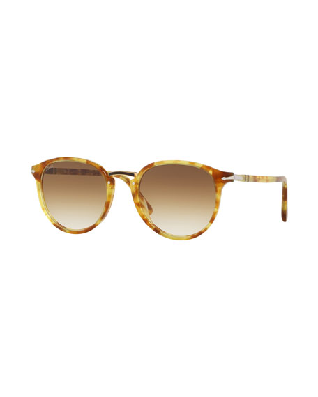 PERSOL Men'S Po3210S Oval Acetate Keyhole Sunglasses - Gradient Lenses in Yellow/Brown