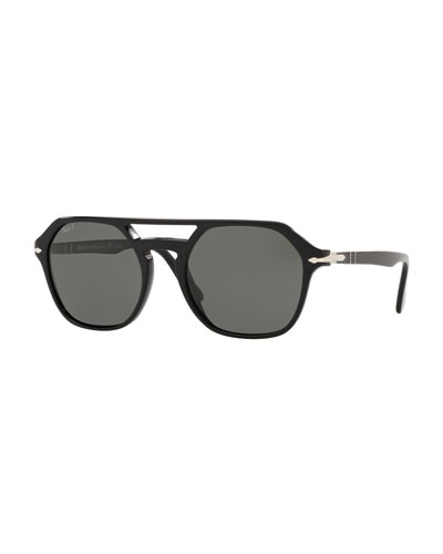Men's PO3206S Acetate Keyhole Pilot Sunglasses - Polarized Lenses