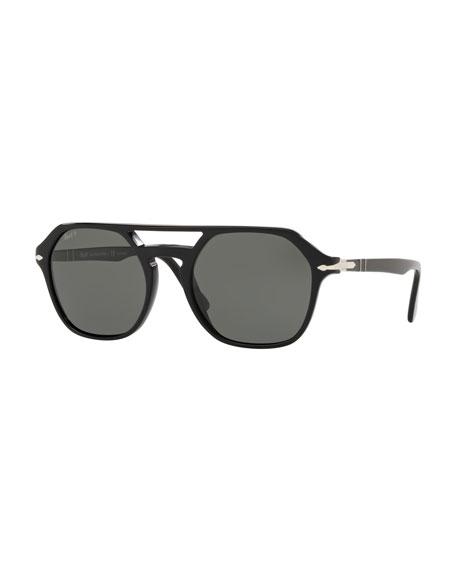 PERSOL Men'S Po3206S Acetate Keyhole Pilot Sunglasses - Polarized Lenses in Black