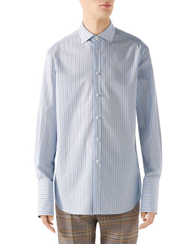 Men's 70s-Striped Poplin Shirt