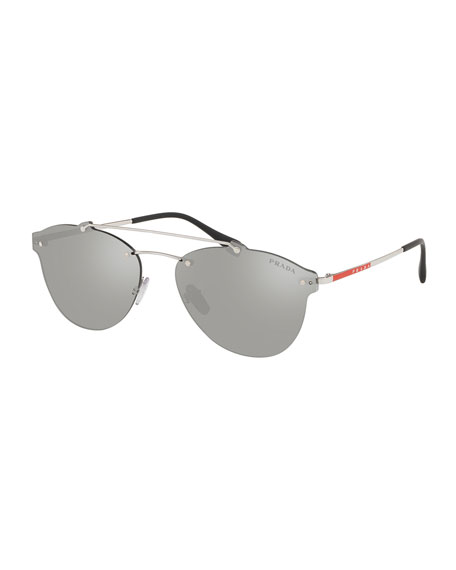 56ff5e9855cfa Prada Men s PS55TS Rimless Aviator Sunglasses