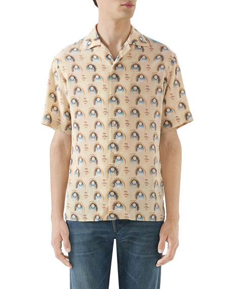 e62fa317dc0 Gucci Men s Anime Graphic Short-Sleeve Silk Shirt