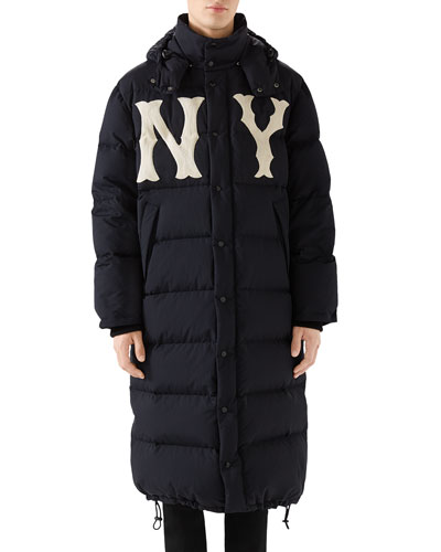 Men's NY Yankees MLB Long Puffer Parka Coat