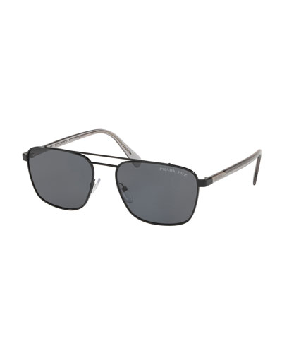Men's Square Metal Aviator Sunglasses - Solid Lenses
