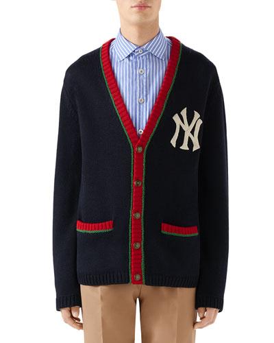 Men's Contrast-Trim NY Yankees MLB Cardigan