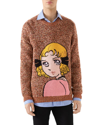 Men's Girl-Graphic Heathered Sweater