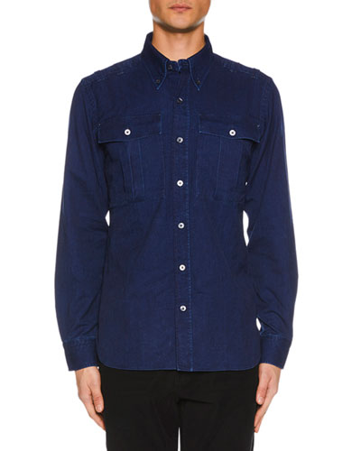 Men's Denim Military Shirt