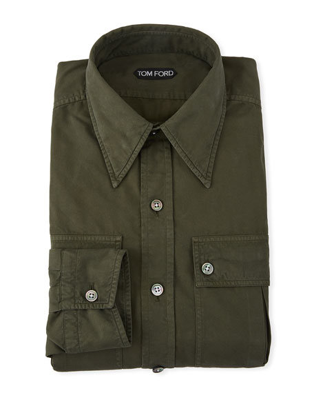 TOM FORD Men's Military Twill Dress Shirt