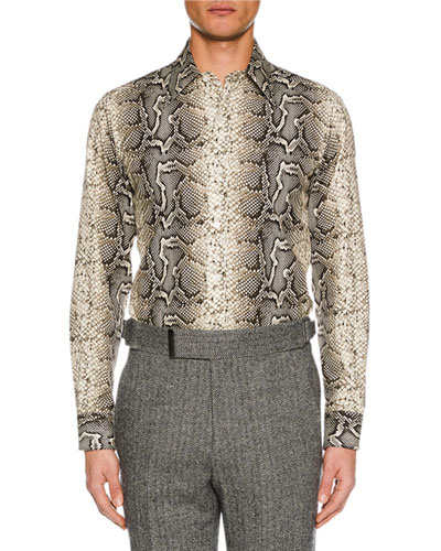 Men's Snakeskin-Print Sport Shirt