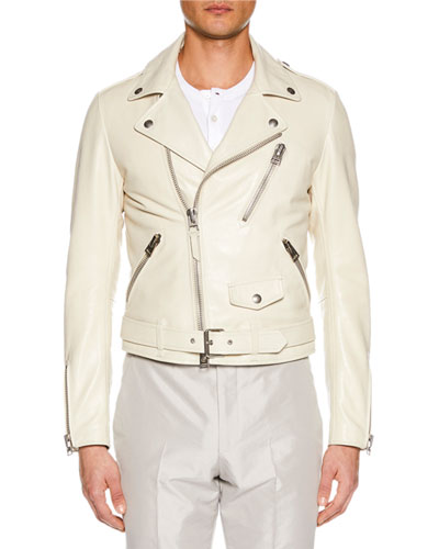 Men's Asymmetric-Zip Leather Biker Jacket