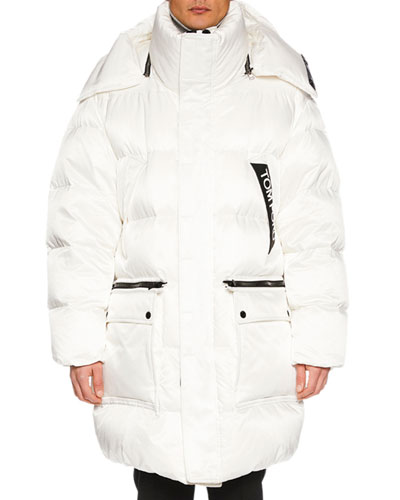 Men's Long Puffer Coat with Contrast Trim