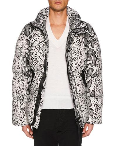 Men's Snakeskin-Print Puffer Jacket