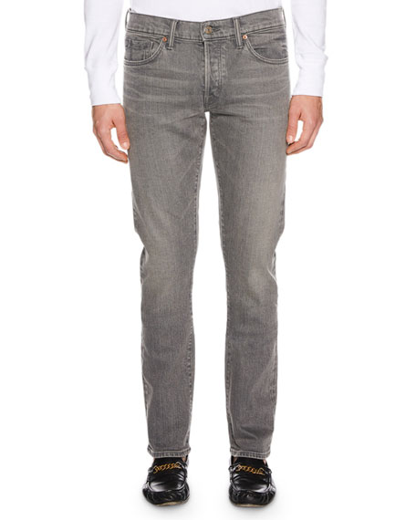 Men's Straight-Fit Stretch-Denim Jeans, Gray