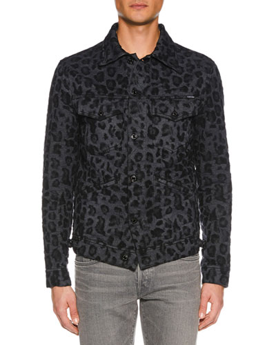 Men's Animal-Jacquard Denim Jacket