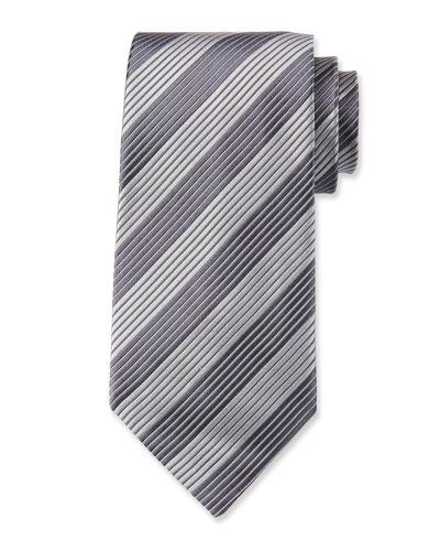 Contrast-Stripe Silk Tie