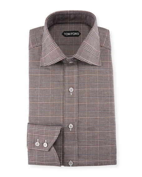 TOM FORD Men's Prince of Wales Twill High-Collar
