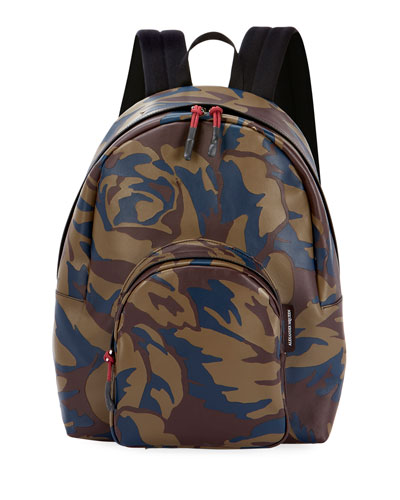 Men's Small Military Camo Leather Backpack