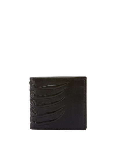 Men's Rib Cage-Embossed Leather Bi-Fold Wallet