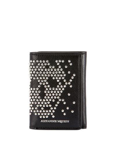 Men's Skull Studded Leather Tri-Fold Wallet