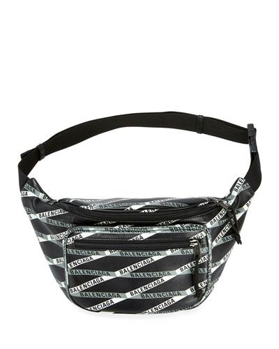 Men's Logo Tape-Print Leather Fanny Pack Bag