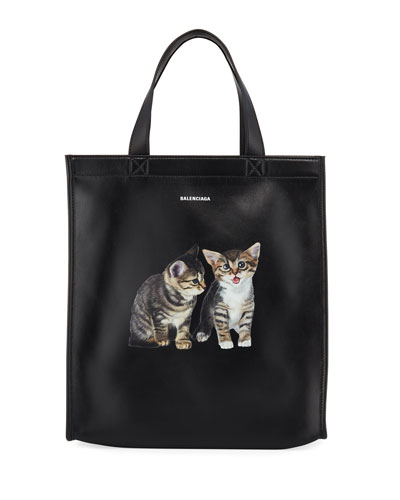 Men's Market Small Kitten Graphic Leather Shopper Tote Bag