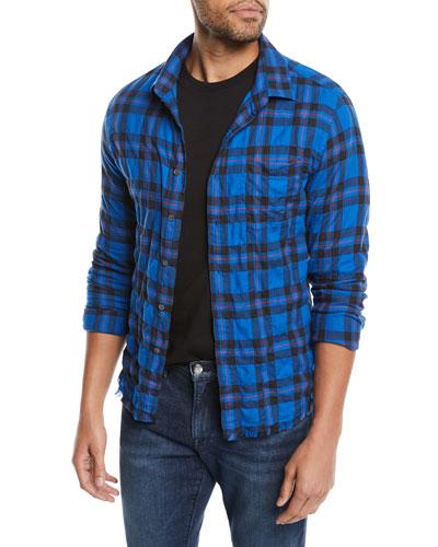 Men's Button-Front Long-Sleeve Plaid Work Shirt w/ Frayed Hem