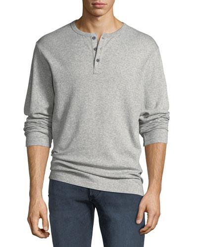 Men's Heathered Jersey Henley Shirt