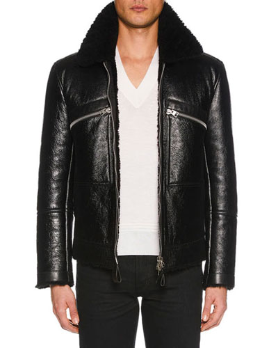 Men's Cracked Leather Jacket with Shearling Trim