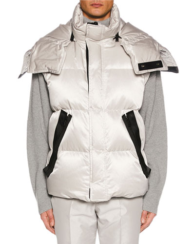 Men's Zip-Front Hooded Puffer Vest