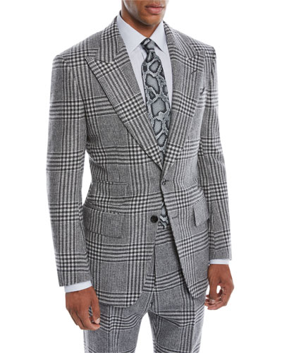 8e314394de43 Men s Atticus Peak-Lapel Two-Button Glen Check Jacket