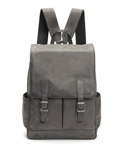 Men's Oliver Leather Buckle Backpack, Slate