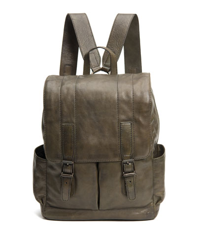 Men's Oliver Leather Buckle Backpack, Olive