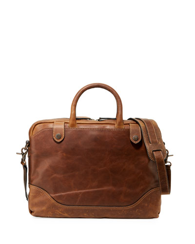 Men's Logan Slim Leather Briefcase, Dark Brown