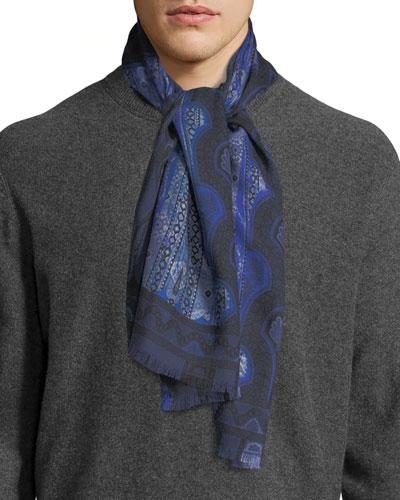 Men's Paisley Cashmere/Silk Scarf